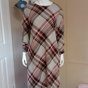 Red & Black Plaid Flannel Dress W/ Ruched …